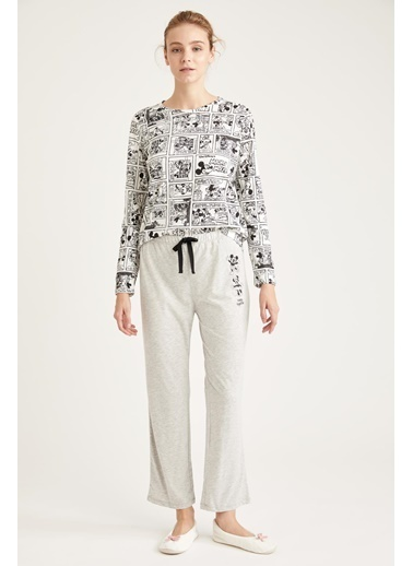 Defacto –Fit Mickey Mouse Lisanslı Pijama Takımı Gri